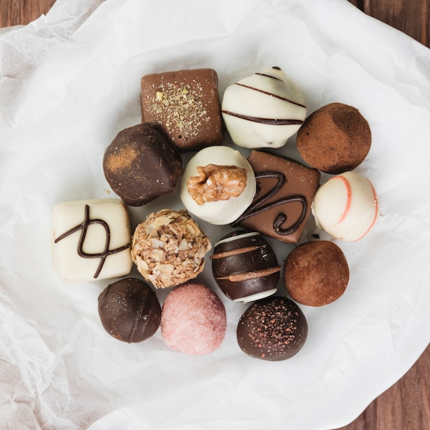 Top view chocolate selection on a plate Free Photo