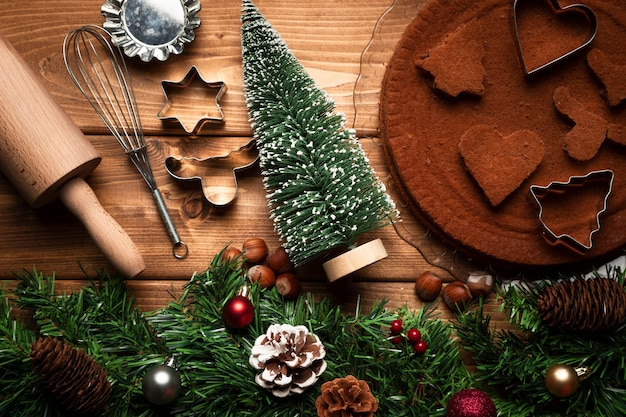 Top view christmas cooking ustensils Free Photo