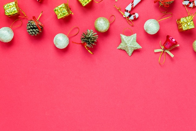 Christmas Top View.Top View Christmas Decoration And Ornament On Red Background