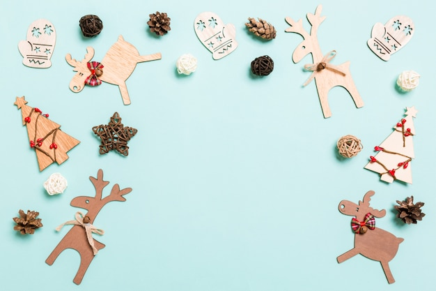 Top view of christmas decorations on blue Premium Photo