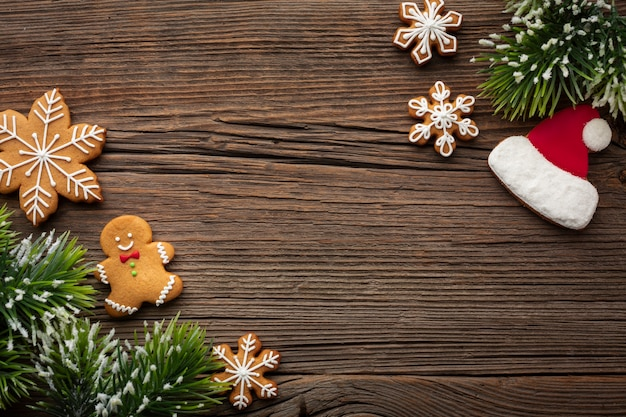 Top view christmas frame with copy space Free Photo