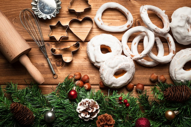 Top view christmas sweets with ustensils Free Photo