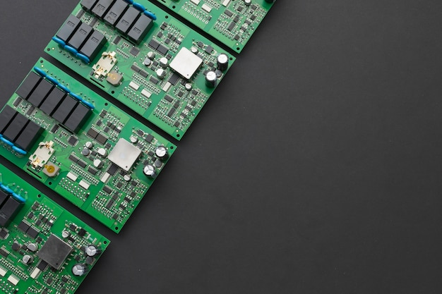 Top view circuit boards with copy space Free Photo