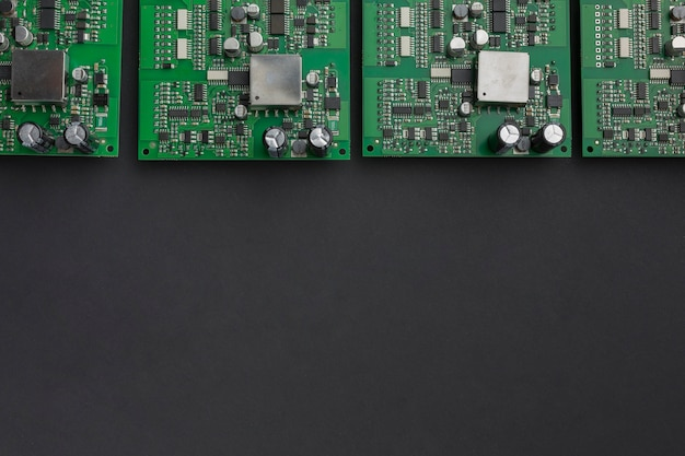 Top view circuit boards with copy space Premium Photo