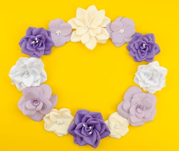 노란색 배경으로 상위 뷰 원형 꽃 프레임 무료 사진