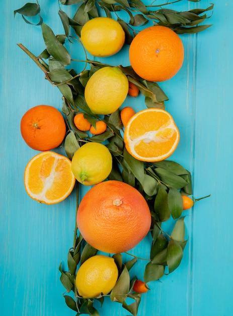 Vista superiore degli agrumi come mandarino e kumquat dell'arancia su fondo blu decorato con le foglie Foto Gratuite