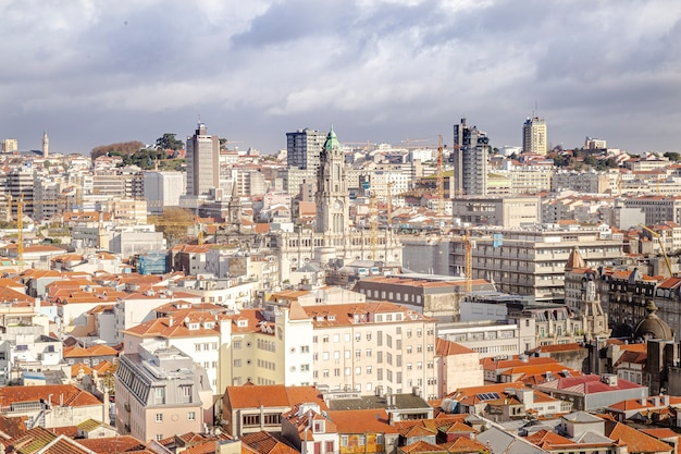 Top view of the city of porto in portugal. view of historic buildings and churches. Premium Photo