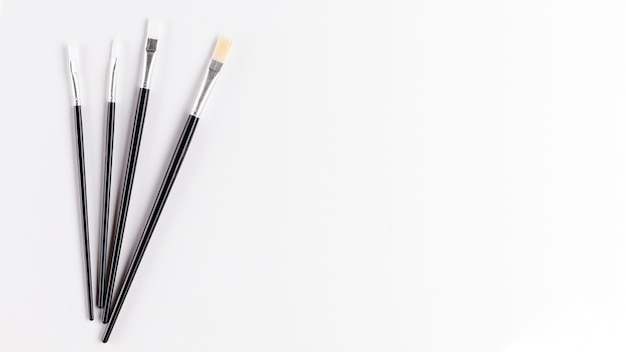 Top view of clean paint brushes Free Photo