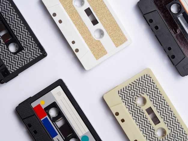 Top view close-up shot cassette tape collection Free Photo