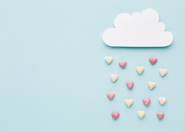 Top view of cloud with valentines day hearts Free Photo