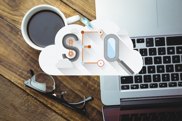 Top view of cloud with the word seo Free Photo