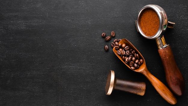 Вид сверху кофейные аксессуары с копией пространства Бесплатные Фотографии