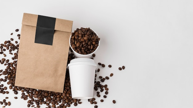 Top view coffee branding items with copy-space Free Photo
