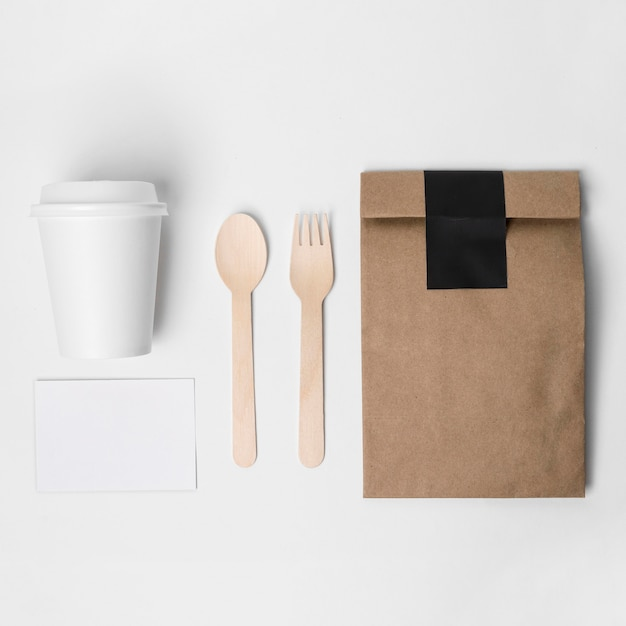 Top view coffee branding items Free Photo