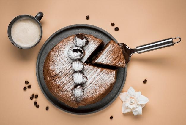 トップビューコーヒーケーキの品揃え 無料写真