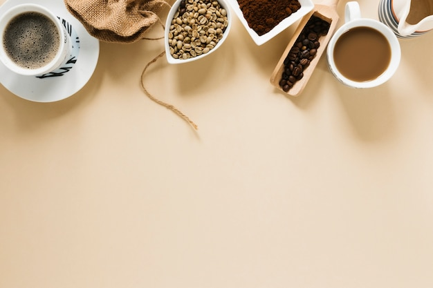 Top view of coffee cups with copy space Free Photo