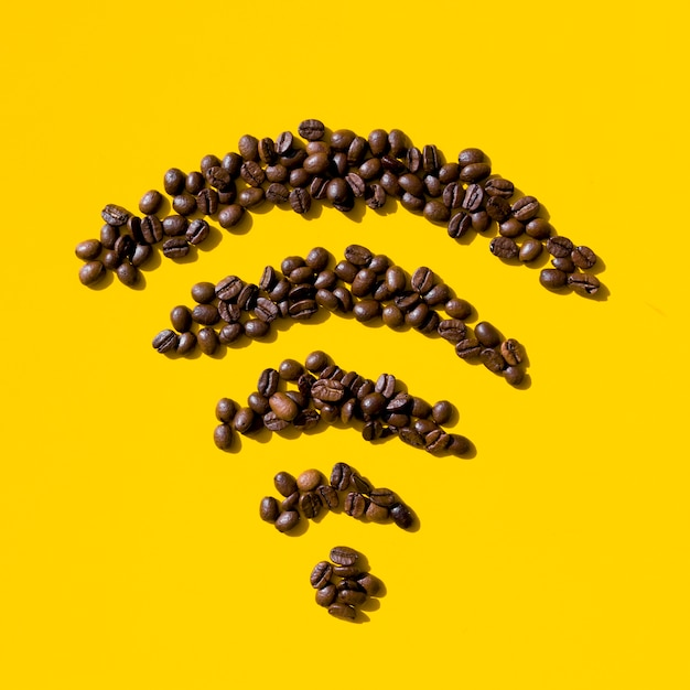 Top view coffee grains form Free Photo