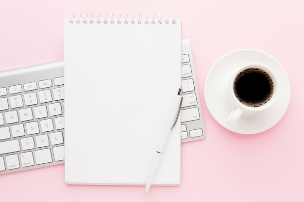 Top view coffee and keyboard decoration Premium Photo