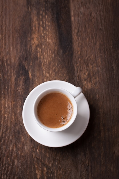 Top view of coffee on wooden table Free Photo
