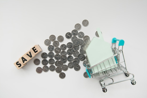 Top view coins with word and shopping cart Free Photo
