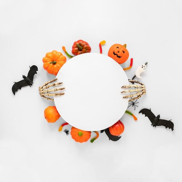 Вид сверху коллекция элементов хэллоуина Premium Фотографии