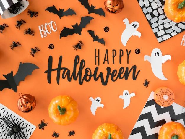 Коллекция элементов хэллоуина с видом сверху Бесплатные Фотографии