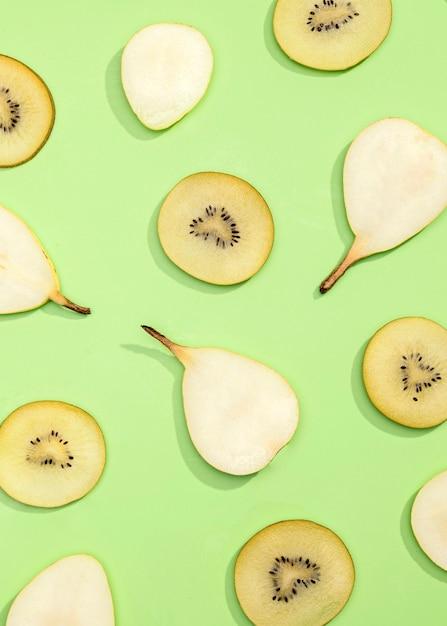 キウイと梨の上面図コレクション 無料写真