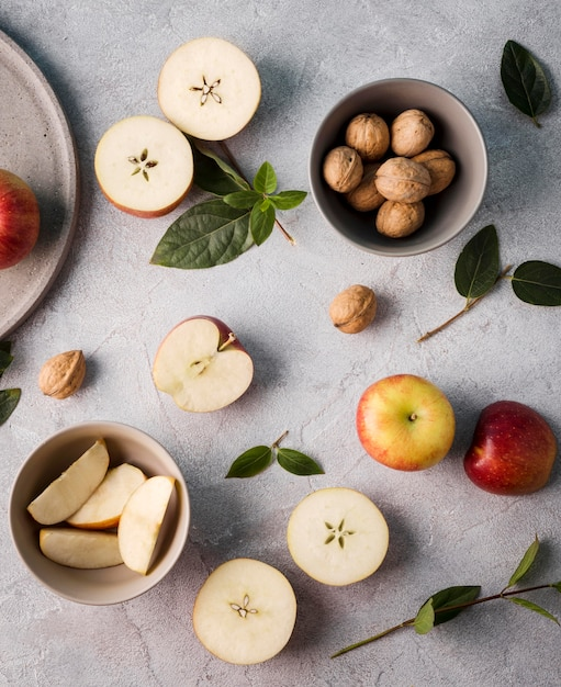 Top view collection of organic fruits on the table Free Photo