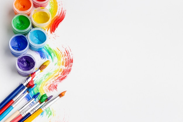 Top view of colorful aquarelle with copy space Free Photo