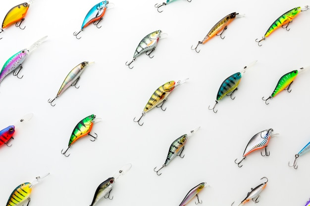 Top view of colorful assortment of fish bait Free Photo