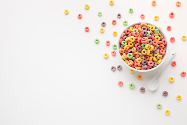 Top view colorful cereal bowl with copy space Free Photo