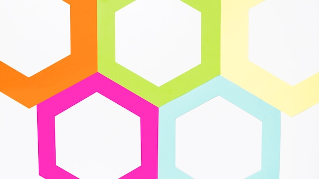 Top view colorful paper hexagon Free Photo