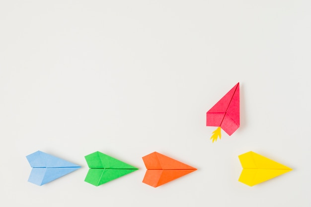 Top view colorful paper planes Premium Photo