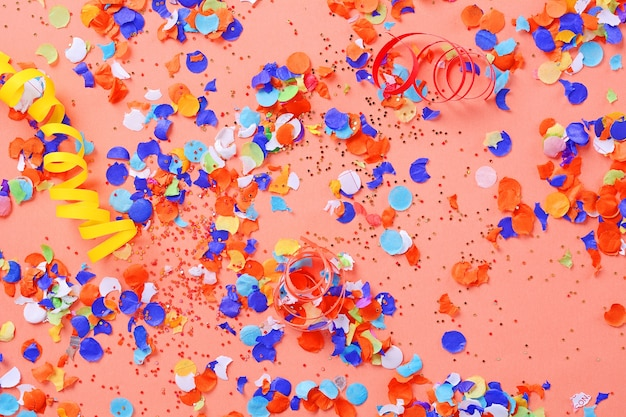 Top view of colorful party confetti background Premium Photo