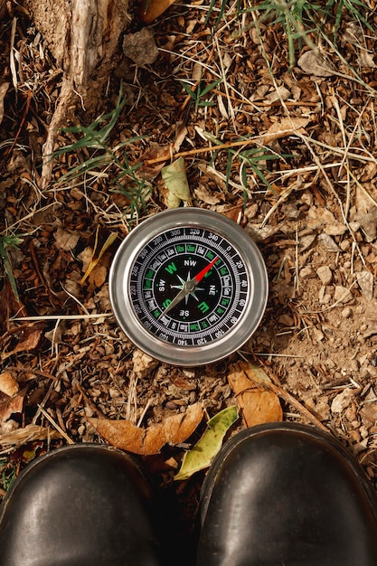 Top view compass for directions on field Free Photo