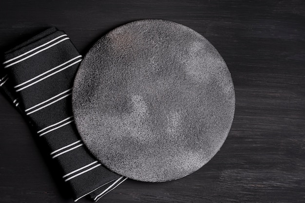 Top view composition of black tableware Free Photo