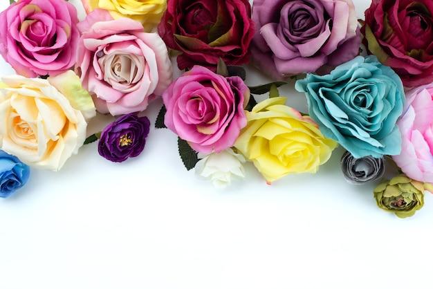 Una composizione vista dall'alto di fiori colorati e belli su bianco, pianta fiore di colore Foto Gratuite