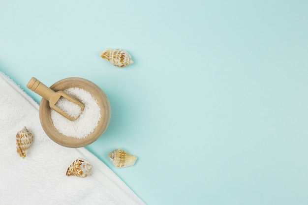 Top view composition of spa objects Free Photo