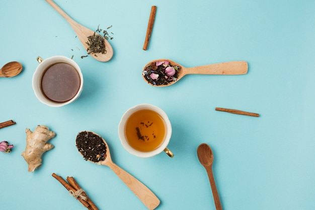 Top view composition for tea concept Free Photo