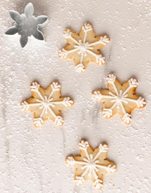 Vista dall'alto del concetto di disposizione dei biscotti Foto Gratuite