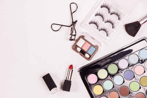 Top view cosmetic beauty makeup Free Photo