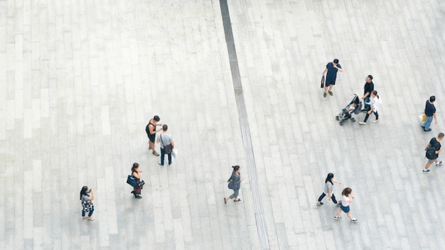 Top view crowd of people walk on business street pedestrian in city Premium Photo