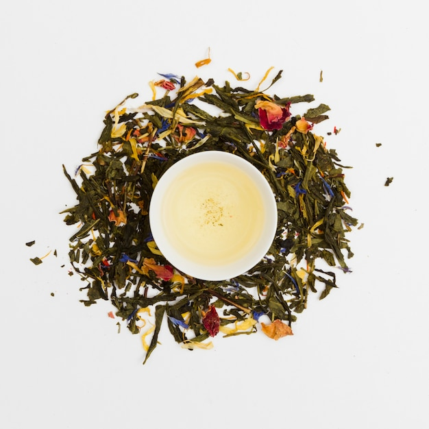Top view cup of tea surrounded by dry leaves Free Photo