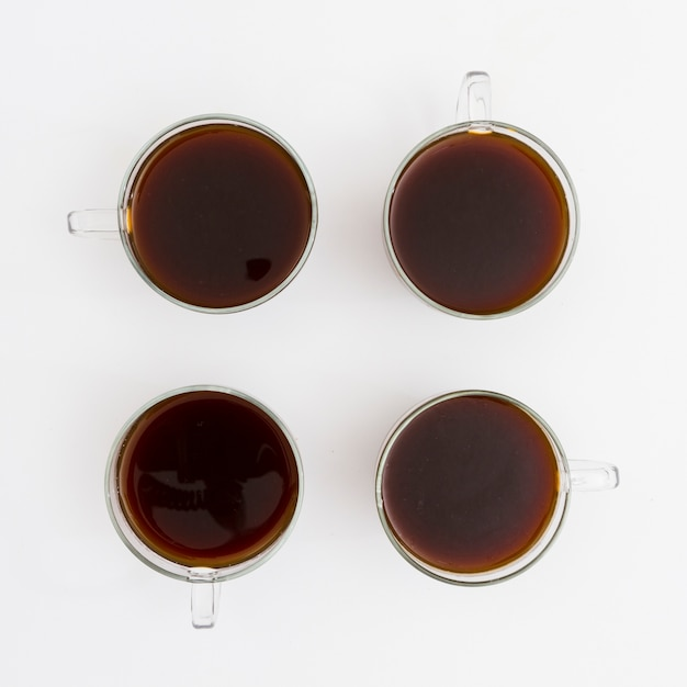 Top view cups of coffee Free Photo