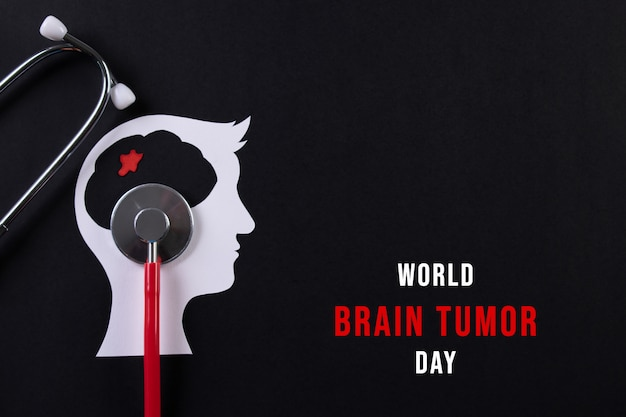 Top view of cut paper brain with text world brain tumor day concept. Premium Photo
