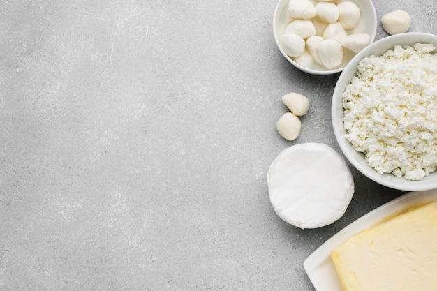 Вид сверху молочные продукты Бесплатные Фотографии