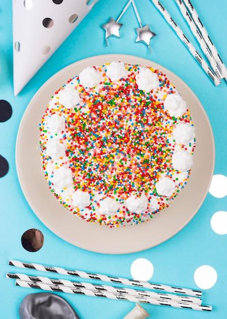 トップビュー美味しいバースデーケーキ 無料写真