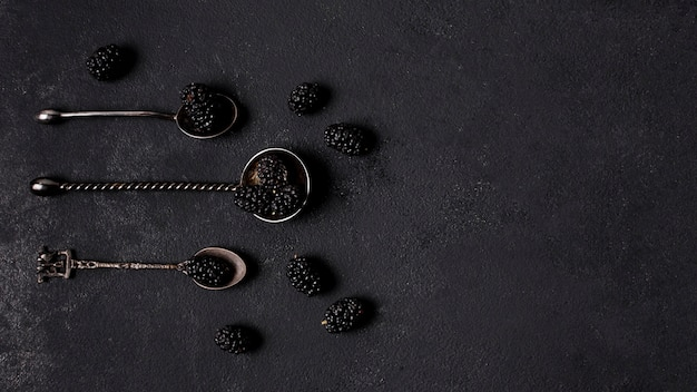 Top view delicious blackberries in spoons with copy space Free Photo