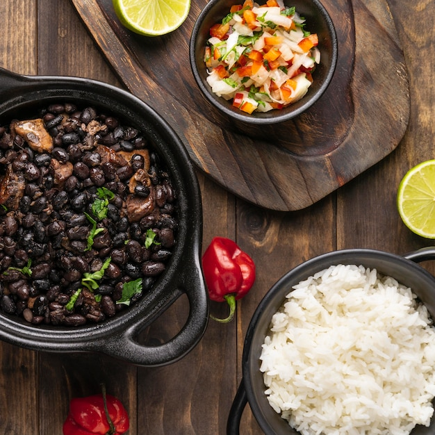 Top view delicious brazilian food arrangement Free Photo