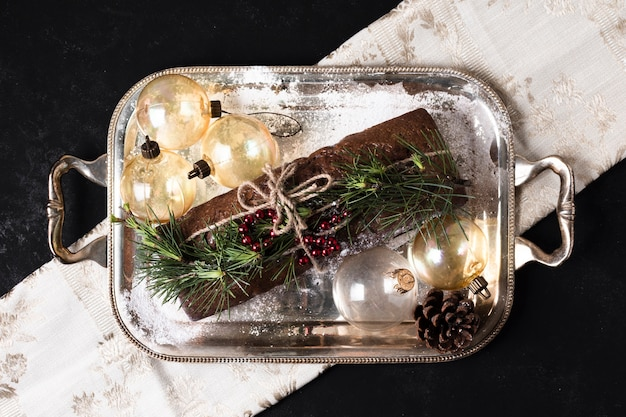 Top view delicious cake made special for christmas Free Photo